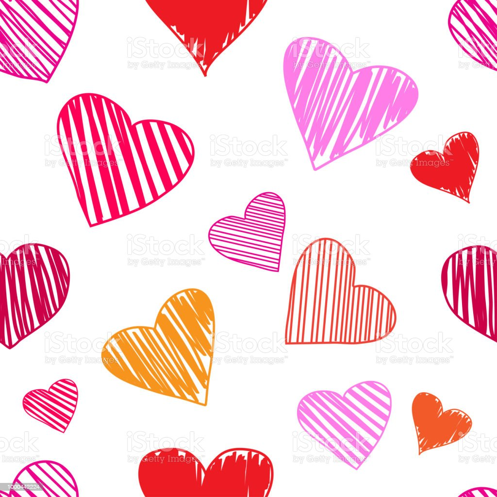 Seamless Pattern With Colorful Hearts On White Background For