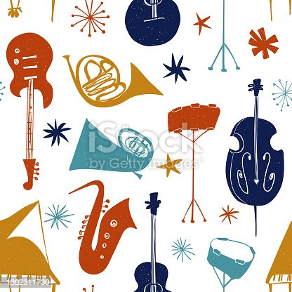 istock Seamless pattern with colorful musical instruments 1302311730
