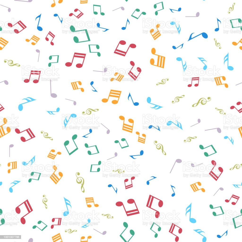 Renkli Muzik Notalari Ile Seamless Modeli Vektor Stok Vektor