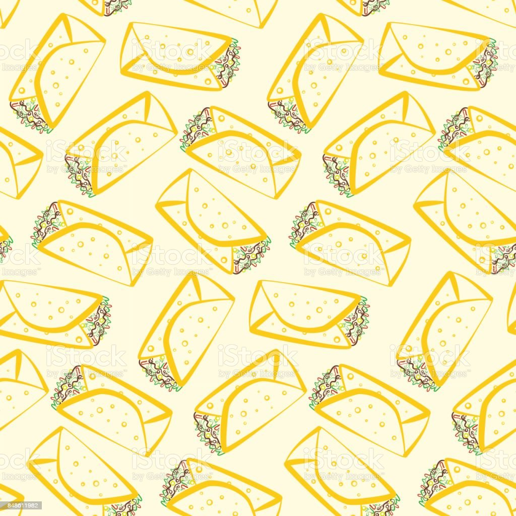 Seamless pattern with colorful outline burritos vector art illustration