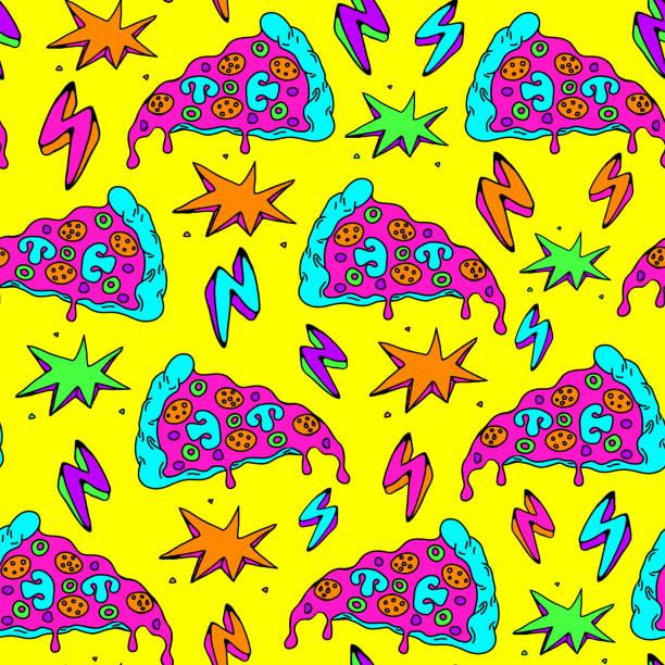 stockillustraties, clipart, cartoons en iconen met naadloos patroon met kleurrijke pizza slices en blikseminslag. gele achtergrond. - bizar