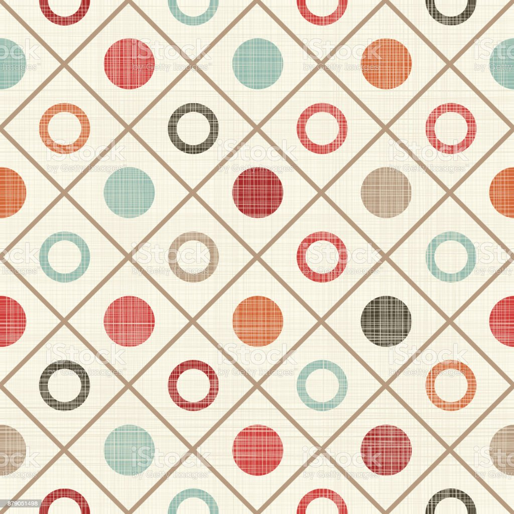 seamless pattern with colorful polka dots on texture background vector art illustration