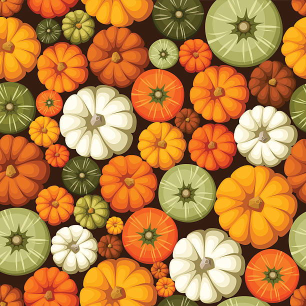 seamless pattern with colorful pumpkins. vector illustration. - flaschenkürbis stock-grafiken, -clipart, -cartoons und -symbole