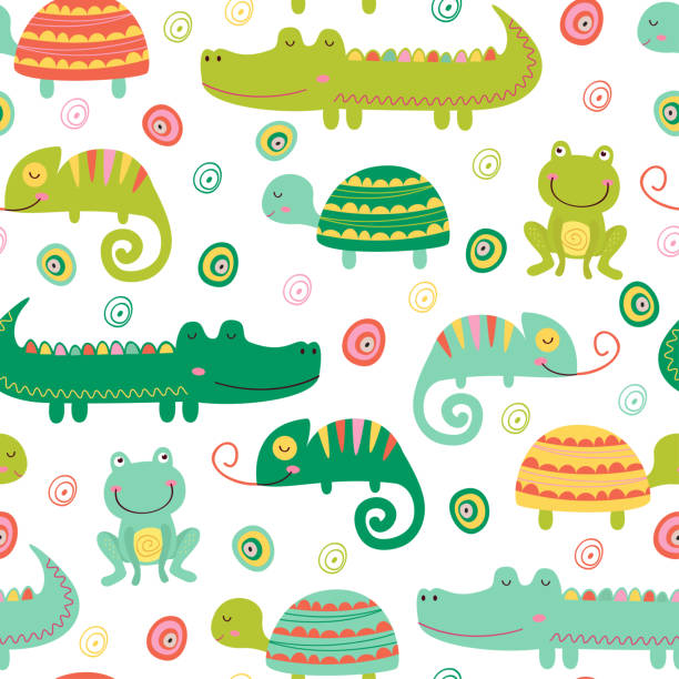 seamless pattern with colorful reptile and amphibian - crocodile stock illustrations