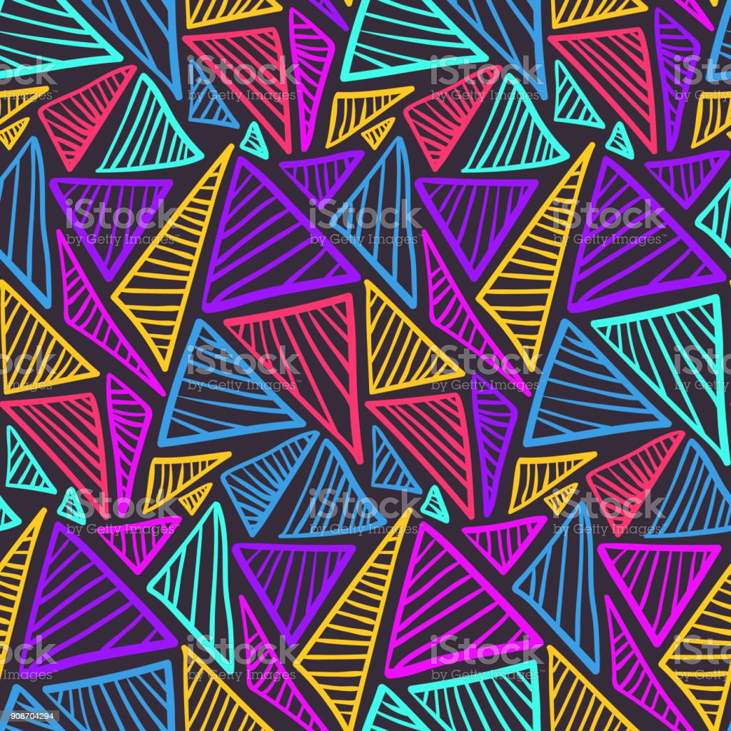 Seamless pattern with colorful scratched triangles vector art illustration