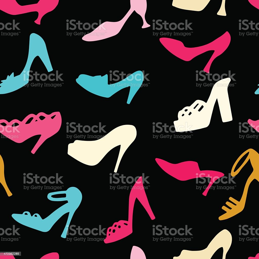Seamless pattern with colorful shoes royalty-free stock vector art