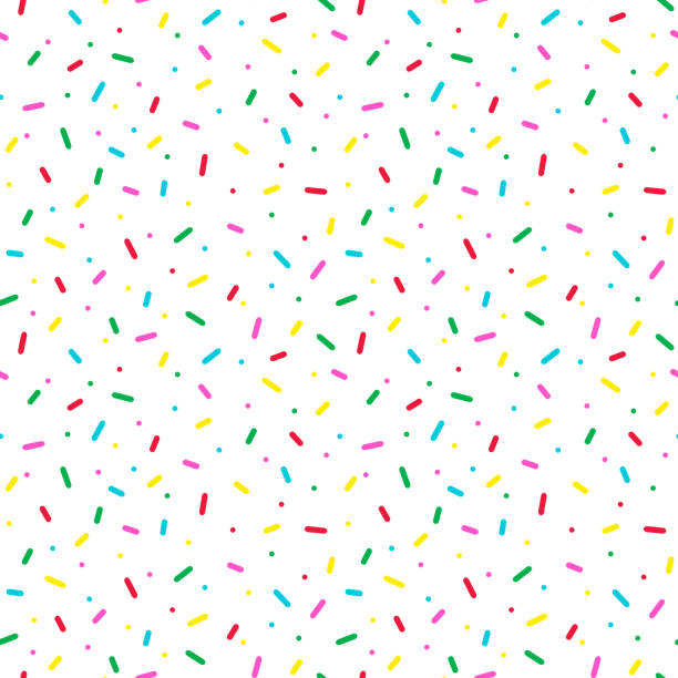 seamless pattern with colorful sprinkles. donut glaze background. - cute stock illustrations