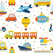 Seamless pattern with colorful transport. Cute children background with little hearts. Vector illustration
