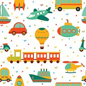 Seamless pattern with colorful transport. Cute children background with hearts. Vector illustration