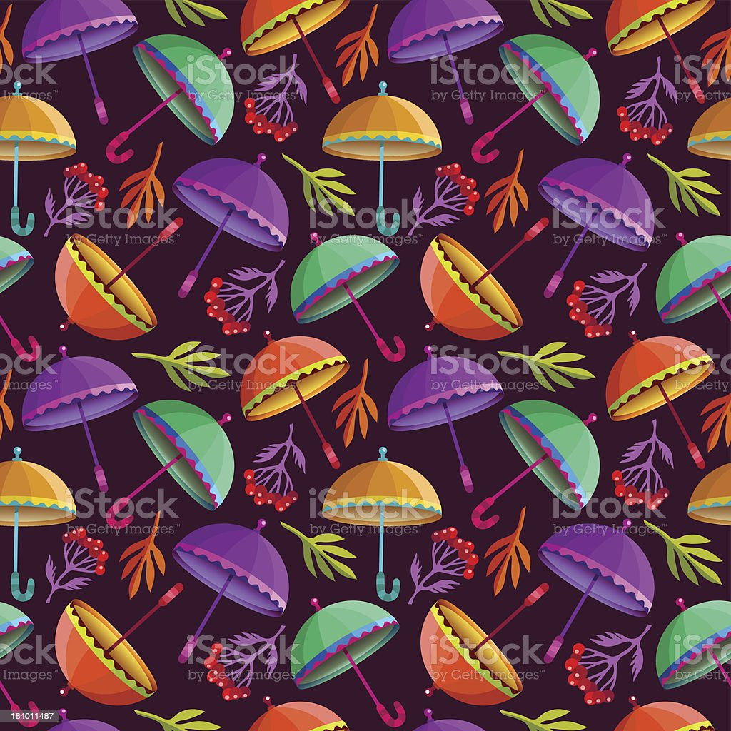 Seamless pattern with colorful umbrellas and autumn leaves. royalty-free seamless pattern with colorful umbrellas and autumn leaves stock vector art & more images of art