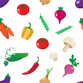Seamless pattern with colorful vegetables on white background. Vector illustration