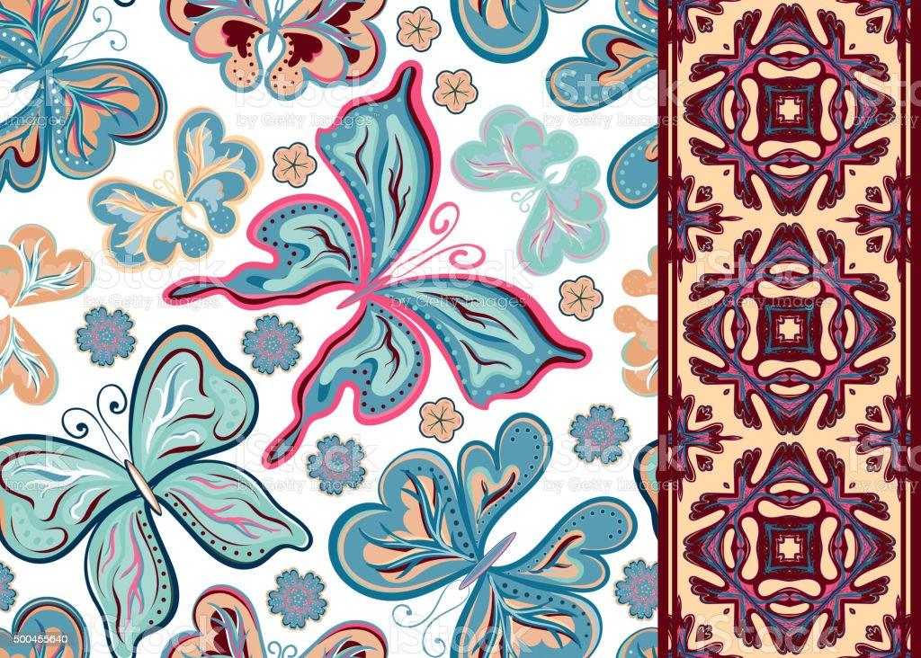 Nahtlose Muster Mit Bunten Vintage Schmetterlingen Und Blumen Hand