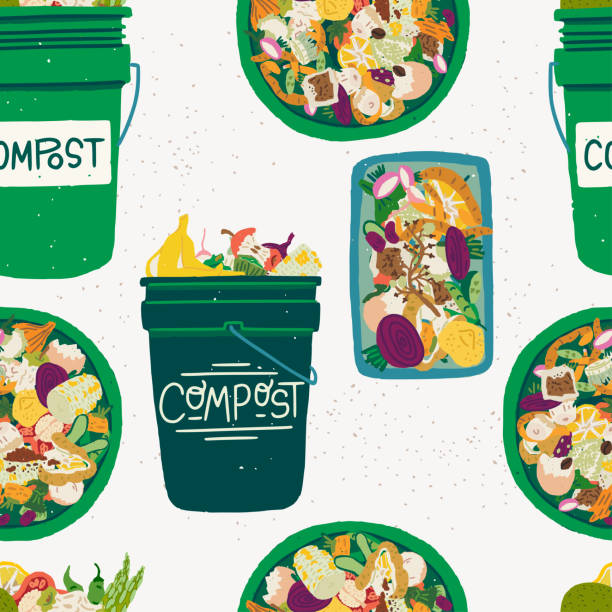 bildbanksillustrationer, clip art samt tecknat material och ikoner med sömlöst mönster med kompostbehållare och matrester - food waste