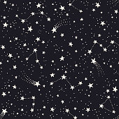 Vector seamless pattern with constellations and stars. Astronomical background