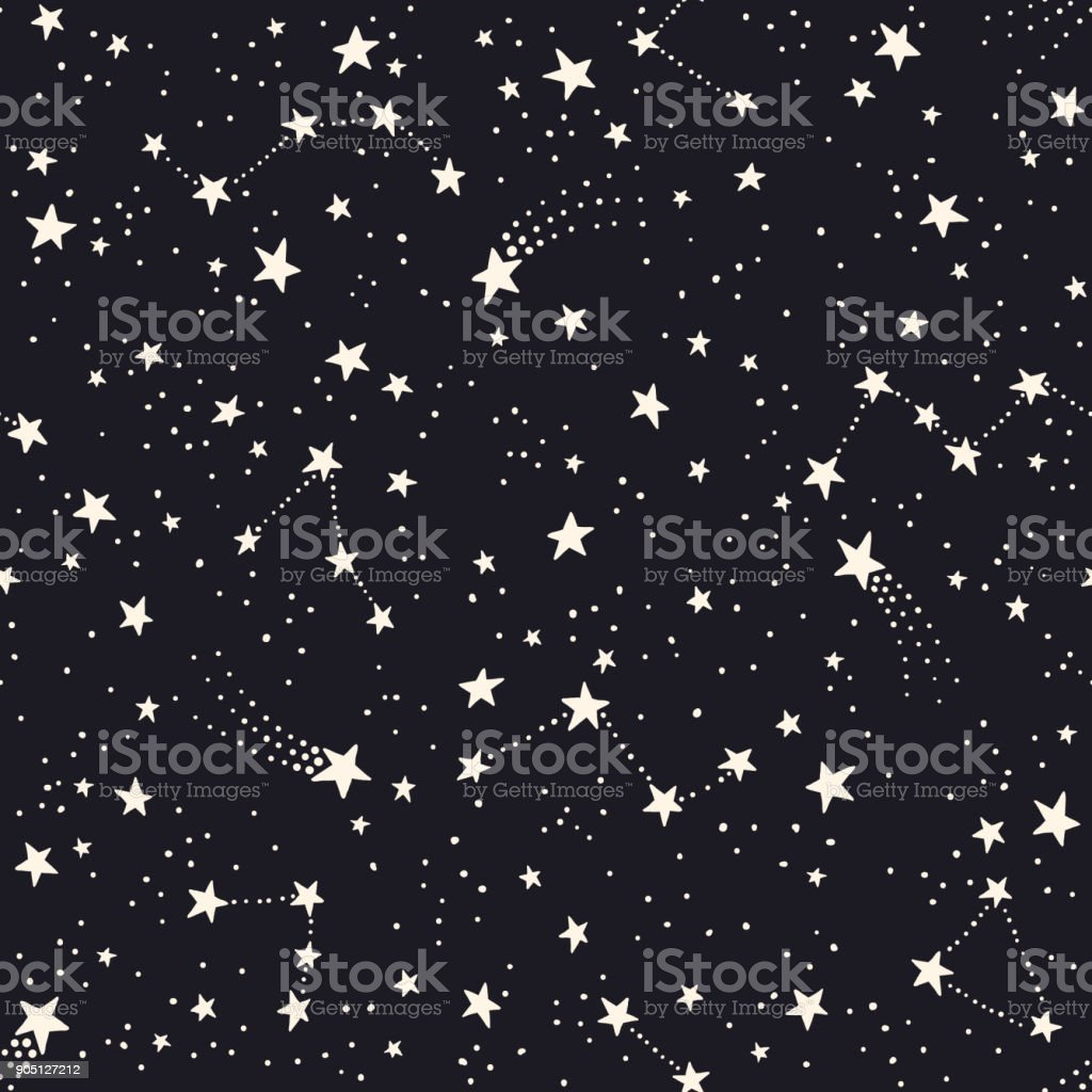 Seamless pattern with constellations and stars vector art illustration