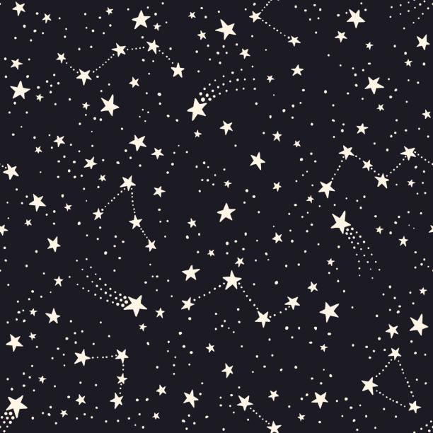 ilustrações de stock, clip art, desenhos animados e ícones de seamless pattern with constellations and stars - constelação