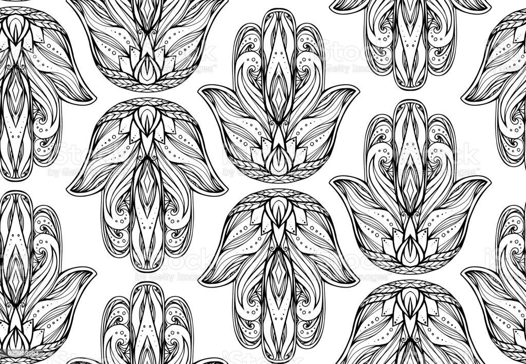 Seamless pattern with contour illustration of Hamsa vector art illustration