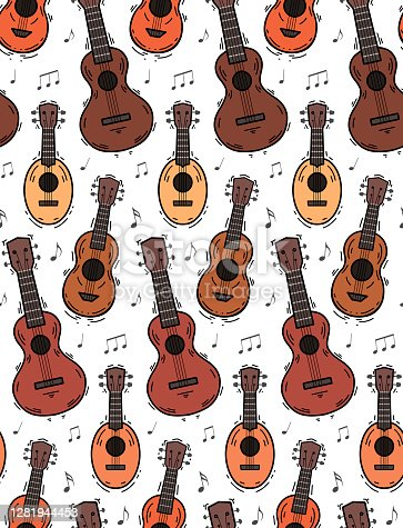 istock Seamless pattern with contour ukuleles with musical notes on white background. Hawaiian music. Musical string instrument. Seamless cartoon texture 1281944453