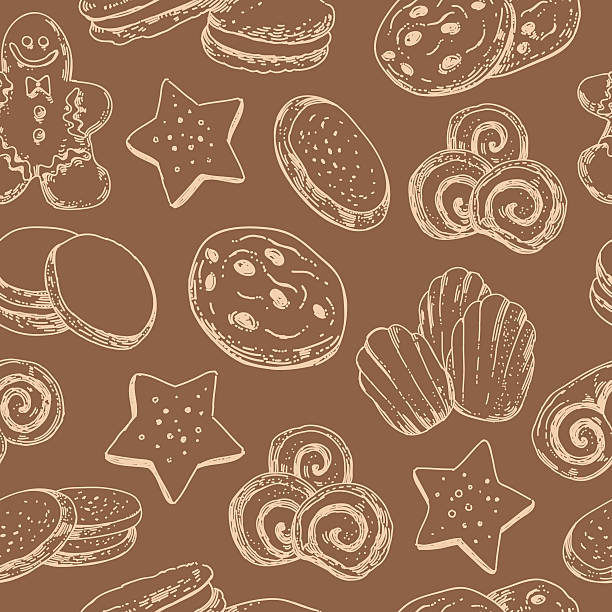 seamless pattern with cookies sweet desserts. food background - rosinenplätzchen stock-grafiken, -clipart, -cartoons und -symbole