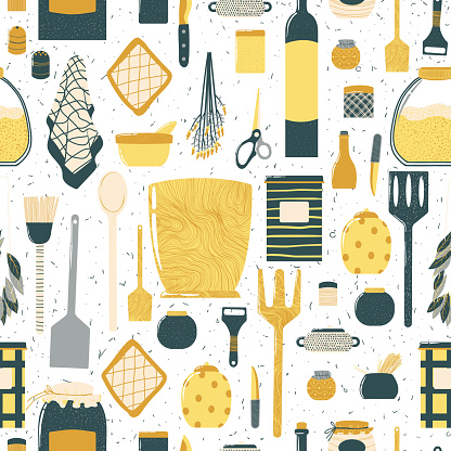 Seamless pattern with cooking utensils in cartoon flat design. Repeated hand drawn background with kitchenware in Scandinavian style.