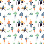 Seamless pattern with cool and fashion elderly people. Various old persons on white background. Texture with funny doodle grandfathers and grandmothers characters. Trendy style vector illustration