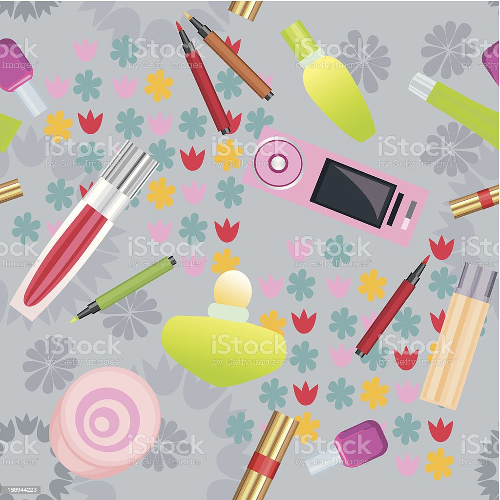 Seamless pattern with cosmetics royalty-free stock vector art