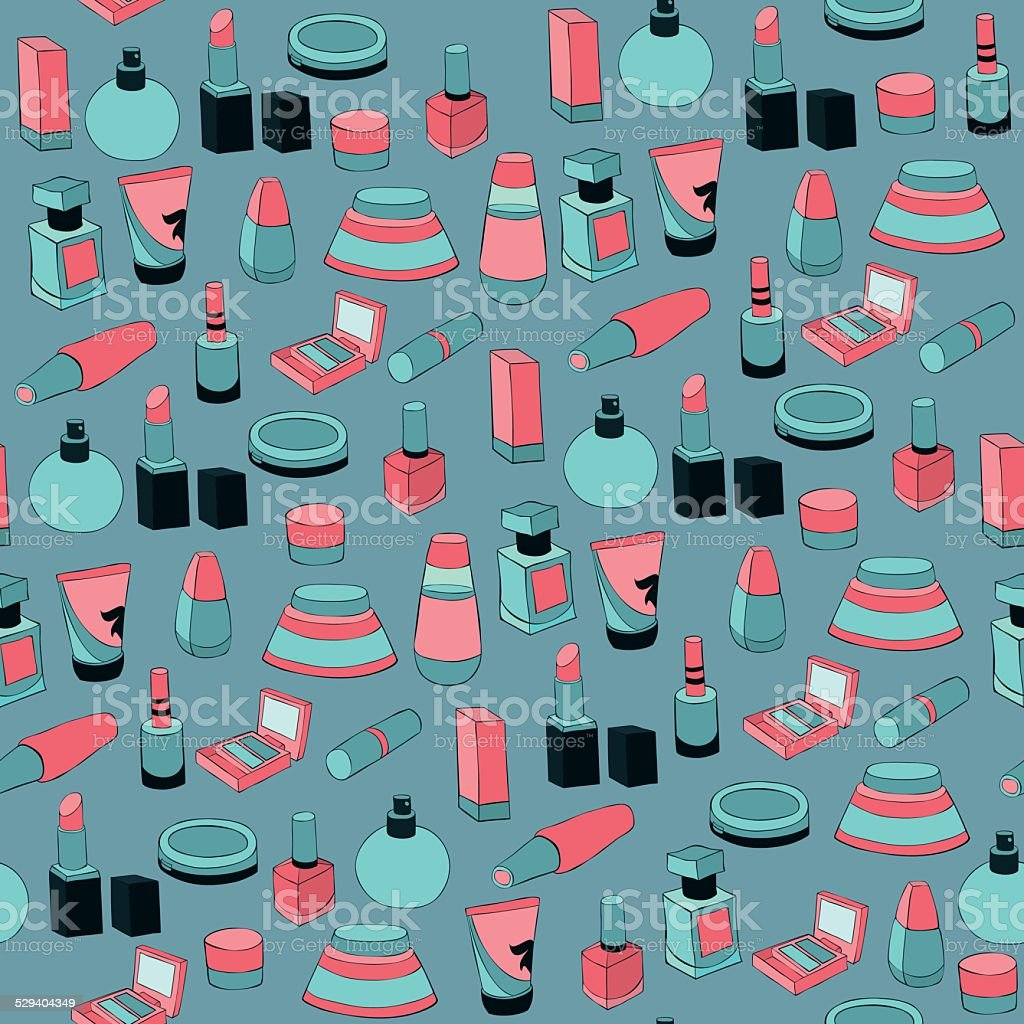 Seamless pattern with cosmetics vector art illustration