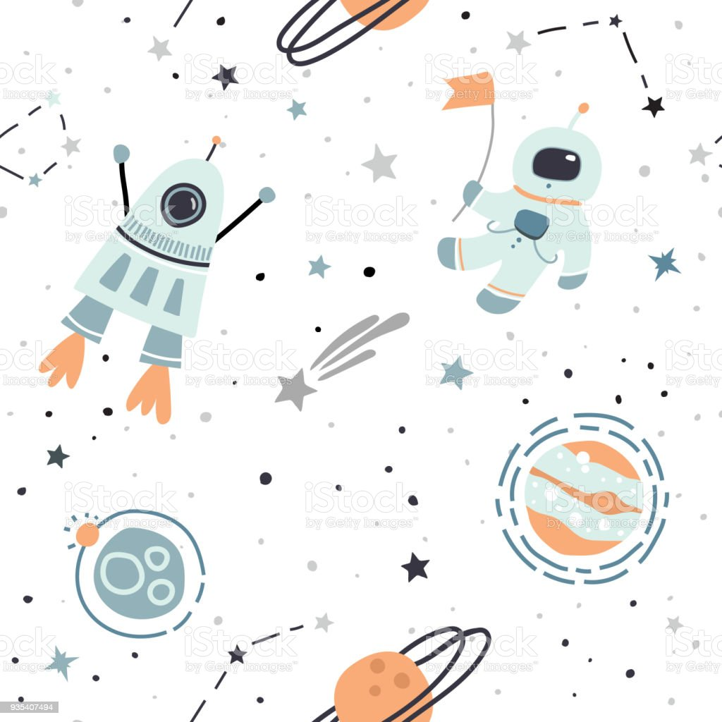 Seamless pattern with cosmonaut, astronaut, space, rocket, stars. vector art illustration