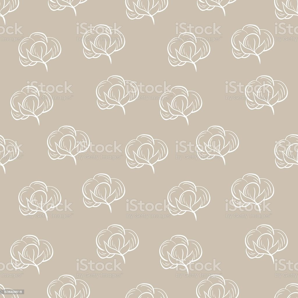 Seamless pattern with cotton. vector art illustration
