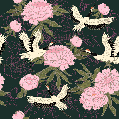 Seamless pattern with cranes and peonies. Vector graphics.