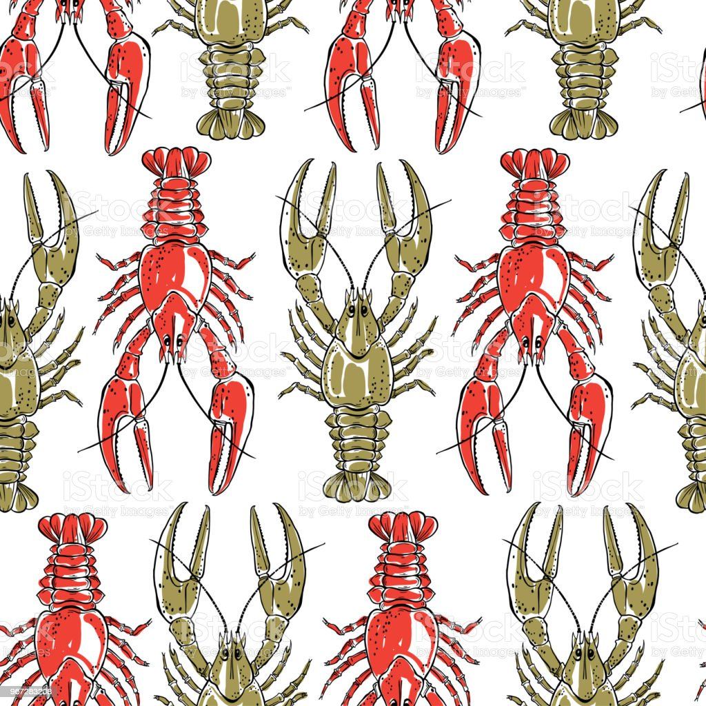 Seamless Pattern With Crawfish On A White Backgroundhand Drawn