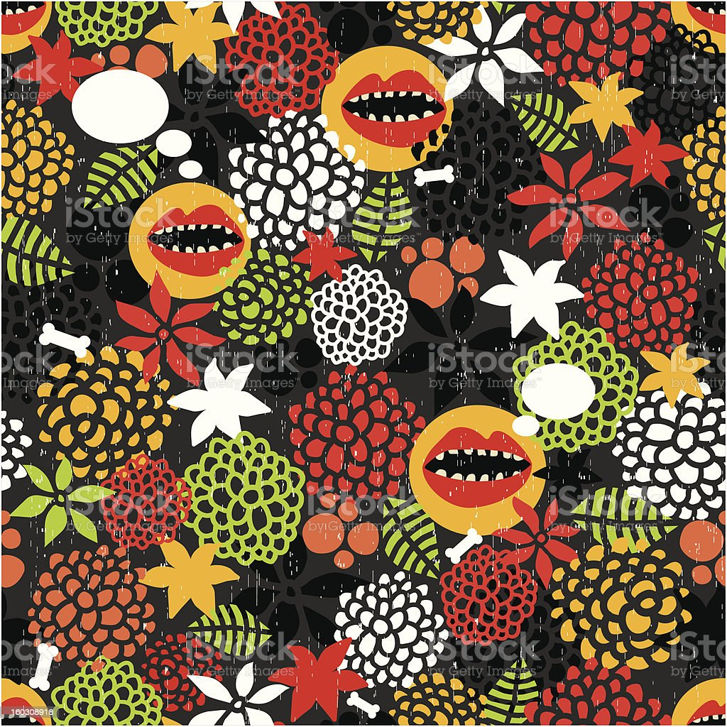 Seamless pattern with crazy mouth. royalty-free stock vector art