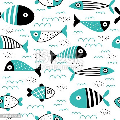 istock Seamless pattern with creative and colorful fish 1203417204