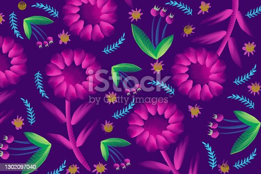 istock Seamless pattern with creative decorative composition of spring flowers. 1302097040