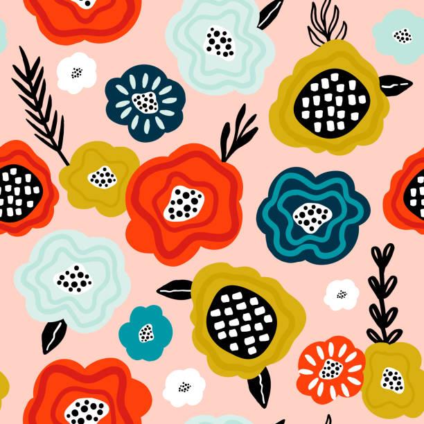 ilustrações de stock, clip art, desenhos animados e ícones de seamless pattern with creative decorative flowers in scandinavian style. great for fabric, textile. vector background - padrão floral