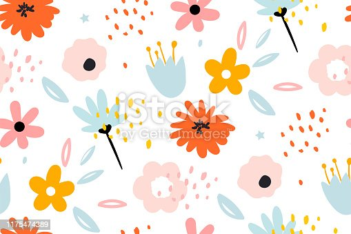 istock Seamless pattern with creative decorative flowers in scandinavian style. 1175474389