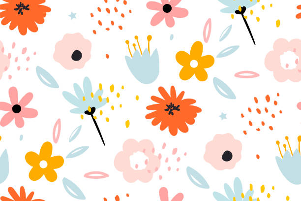 Seamless pattern with creative decorative flowers in scandinavian style. Seamless pattern with creative decorative flowers in scandinavian style. Using for print on the wall, pillows, decoration kids interior, baby wear and shirts, greeting card, vector and other. springtime stock illustrations
