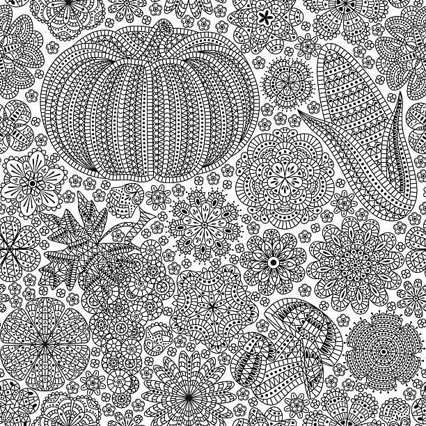seamless pattern with creative vegetables and flowers - gehäkelte lebensmittel stock-grafiken, -clipart, -cartoons und -symbole
