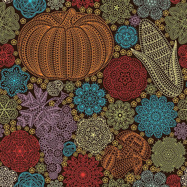 seamless pattern with creative vegetables - gehäkelte lebensmittel stock-grafiken, -clipart, -cartoons und -symbole
