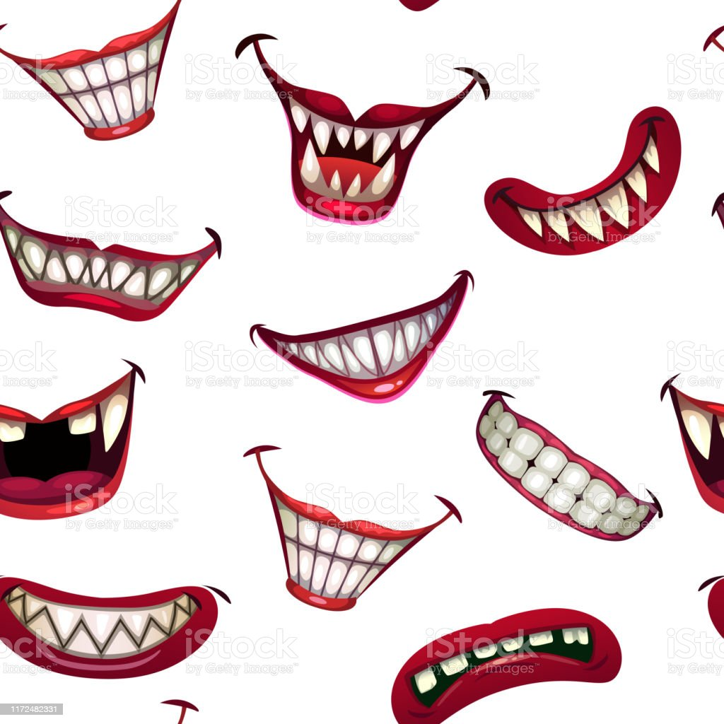 Seamless Pattern With Creepy Monster Smiles On White Background