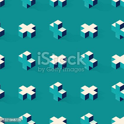 Seamless pattern with cross or plus shape on green background in modern dotted texture style