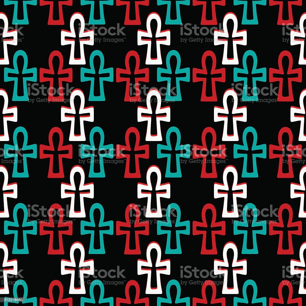 Seamless pattern with cross vector art illustration