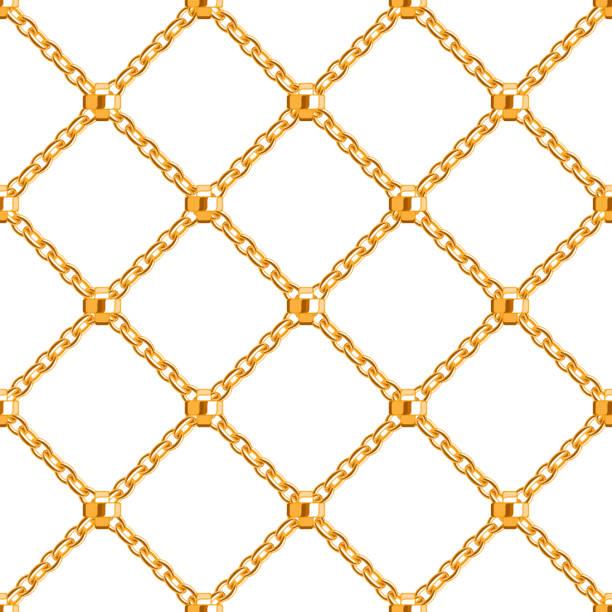 nahtlose muster mit überkreuzten goldenen kettendetails.  abstrakt hintergrund. - kreuzkette stock-grafiken, -clipart, -cartoons und -symbole