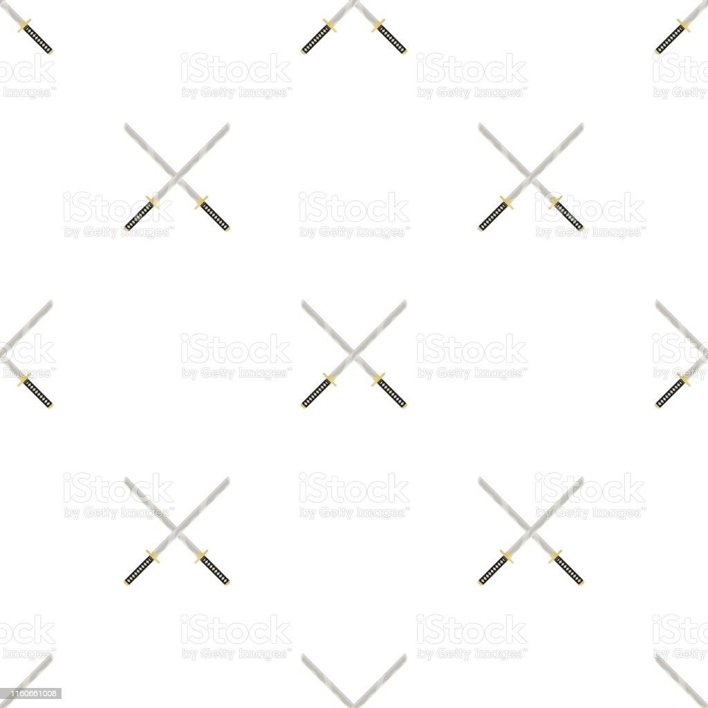 交差したカタナ武器のアイコンとシームレスなパターン忍者の武器