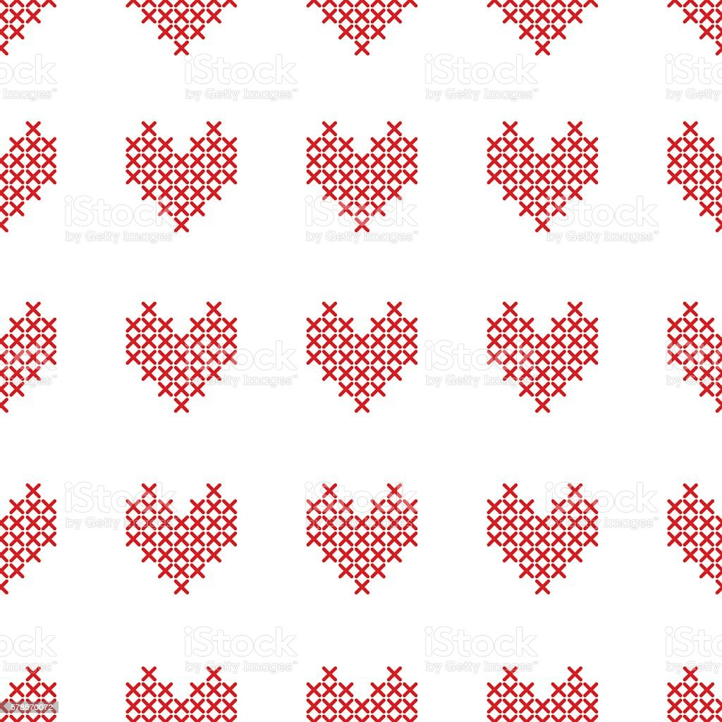 Ilustración de Seamless Pattern With Crossstitch Hearts On White y ...