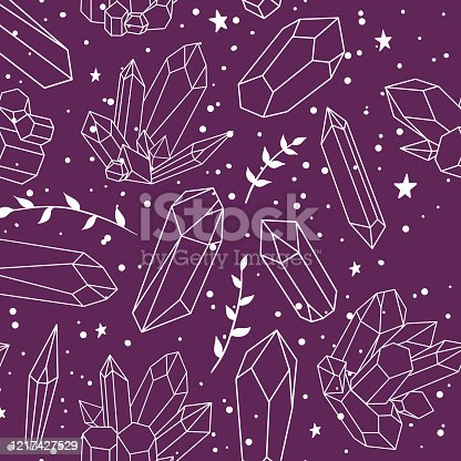 istock Seamless pattern with crystals, plants and stars on a purple background 1217427529