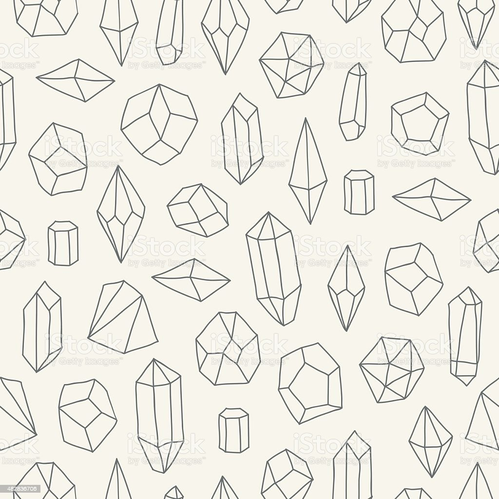 Seamless pattern with crystals vector art illustration