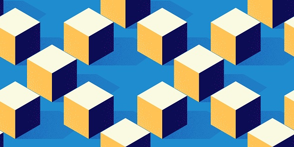 Seamless pattern with cube or box shape on blue background in modern dotted texture style