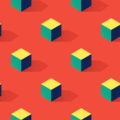 Seamless pattern with cube or box shape on red background in modern dotted texture style