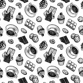 Seamless pattern with cup of tea or coffee and sweets. Ink sketches on white background. Hand drawn vector illustration. Retro style.